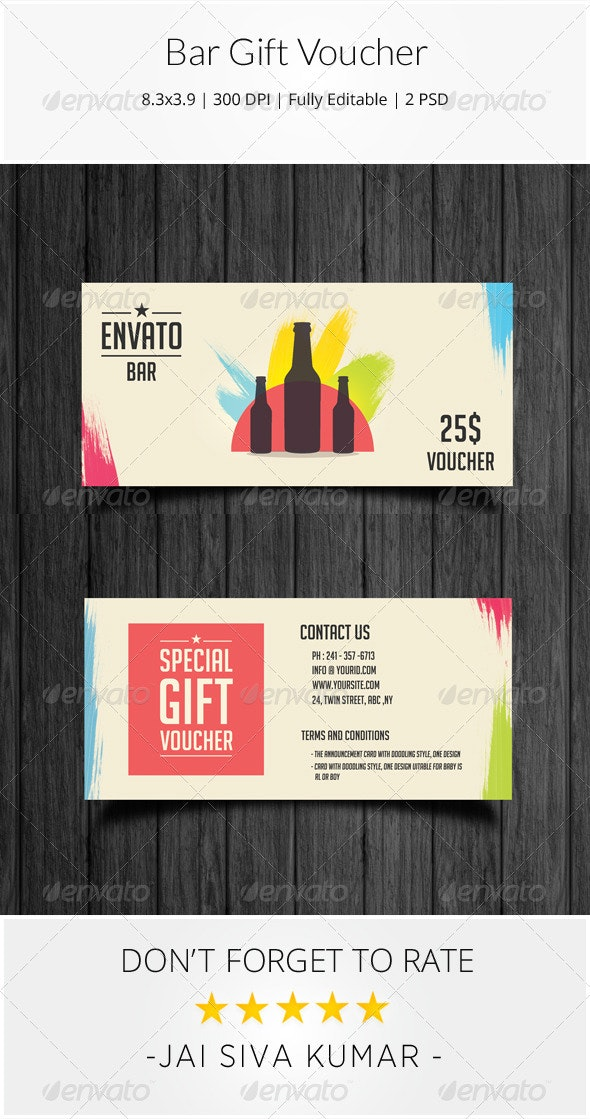 Bar Gift Voucher - Loyalty Cards Cards & Invites
