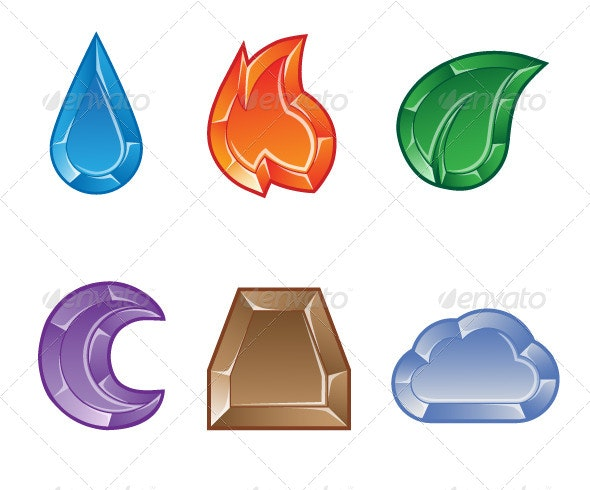 Set of Elemental Gems for Match 3 Puzzle Game - Objects Vectors