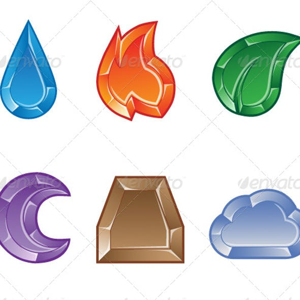 Set of Elemental Gems for Match 3 Puzzle Game