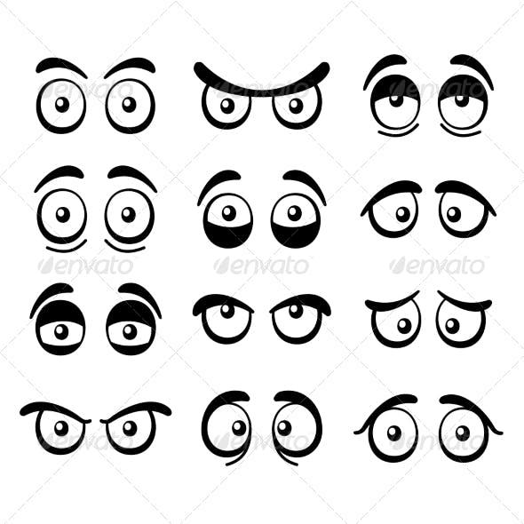 Comic Cartoon Eyes Set