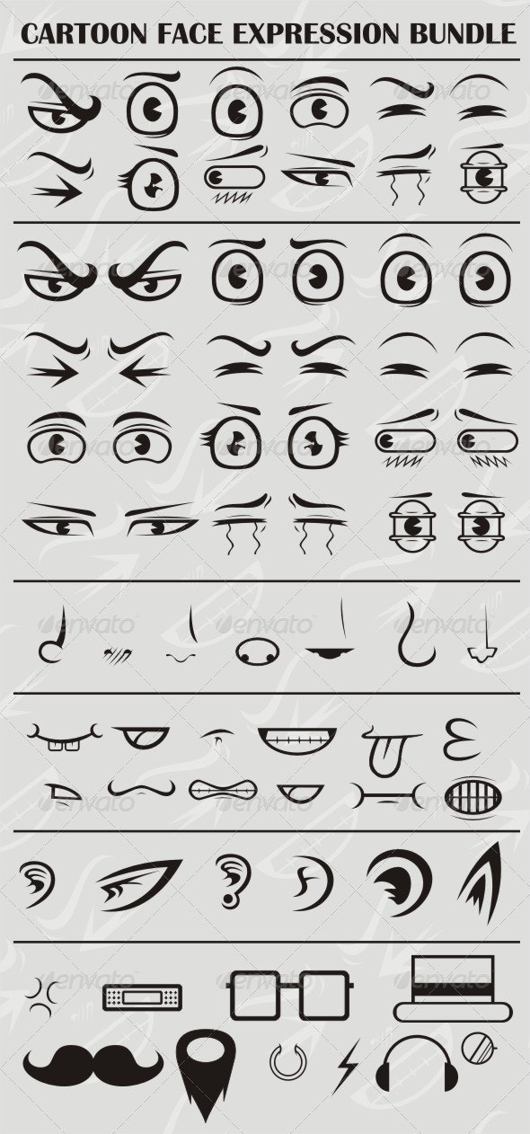 Cartoon Face Expression Set - People Characters