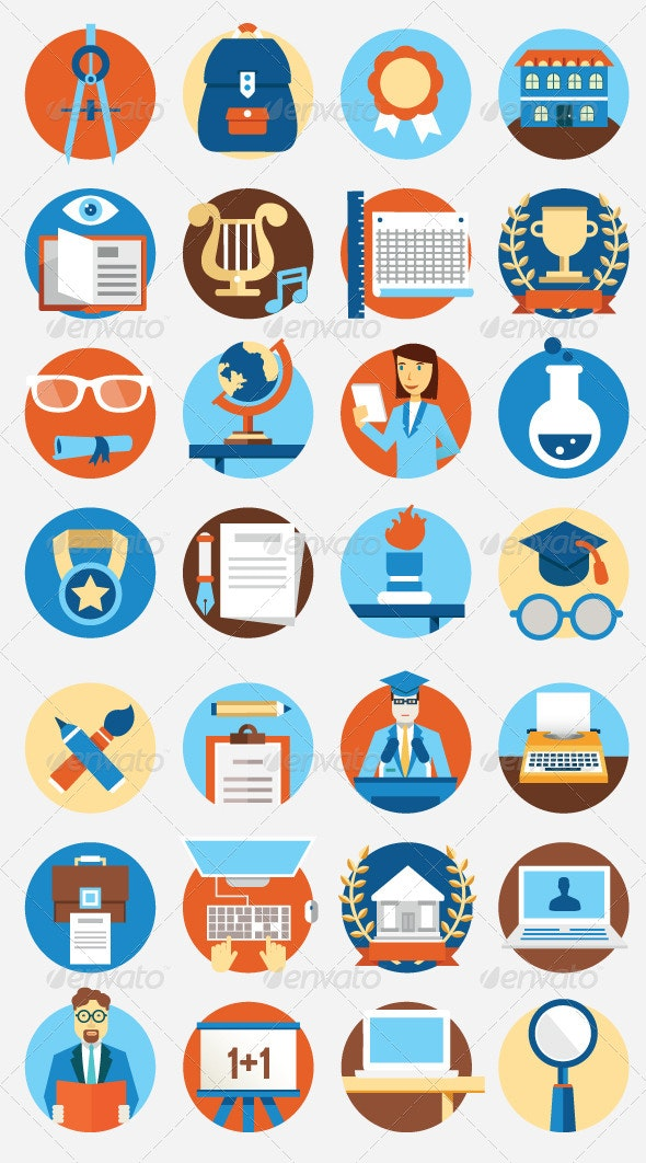 Set of Flat Education Icons - Objects Icons