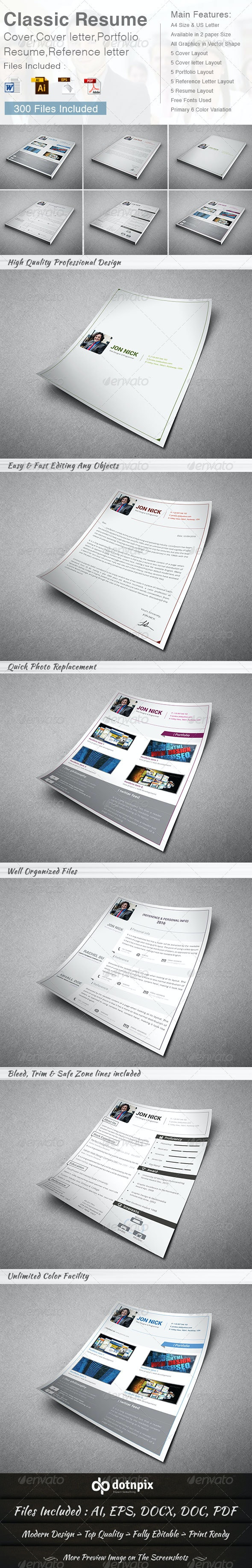 Classic Resume - (5 in 1) - Resumes Stationery