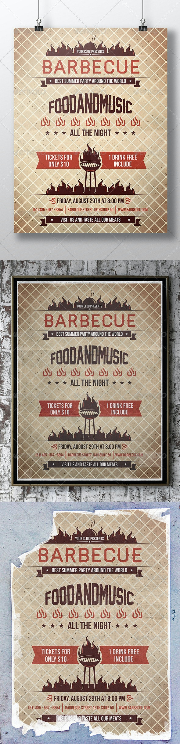 BBQ Hot Summer Party Flyer - Events Flyers