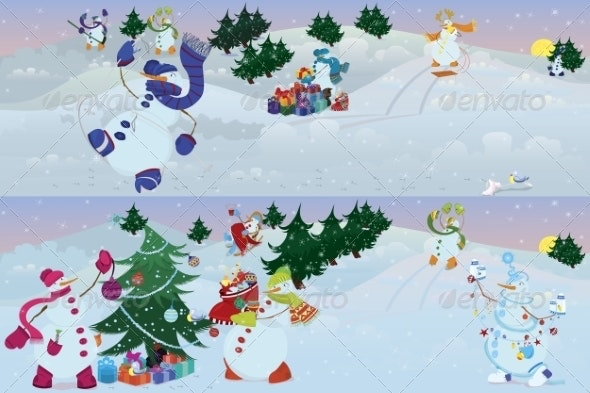 Snowmen Living in a Magic Forest  - Christmas Seasons/Holidays