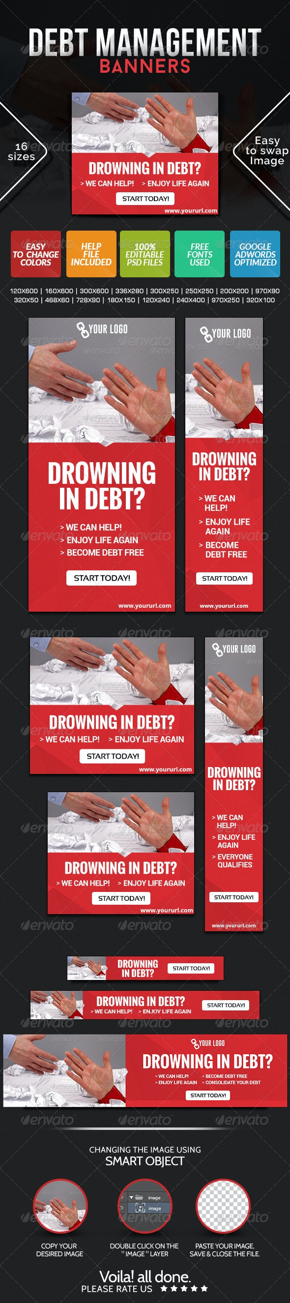 Manage Your Debts Banners - Banners & Ads Web Elements