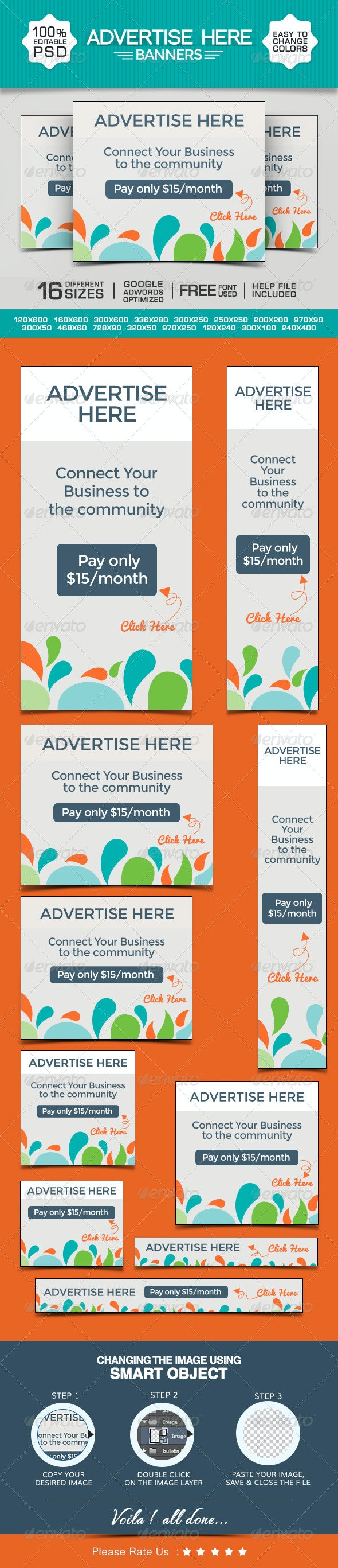 Advertise Here Banners - Banners & Ads Web Elements