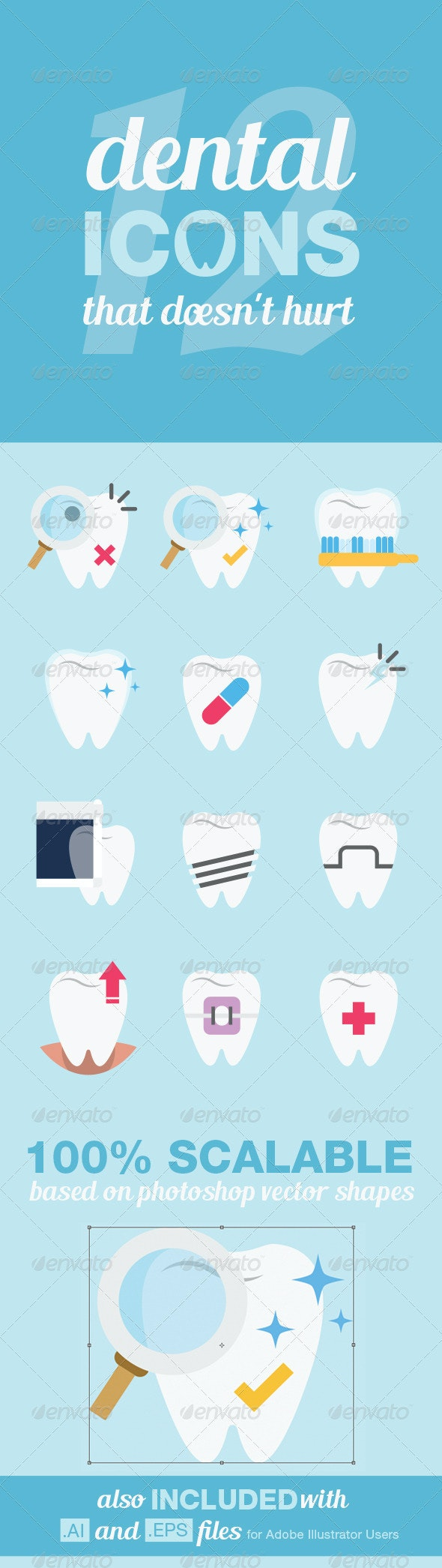12 Dental Icons - Health/Medicine Conceptual