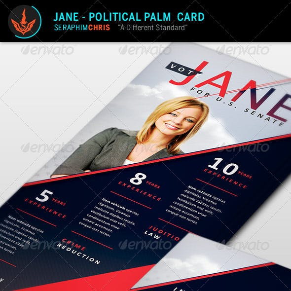 Jane - Political Palm Card Template