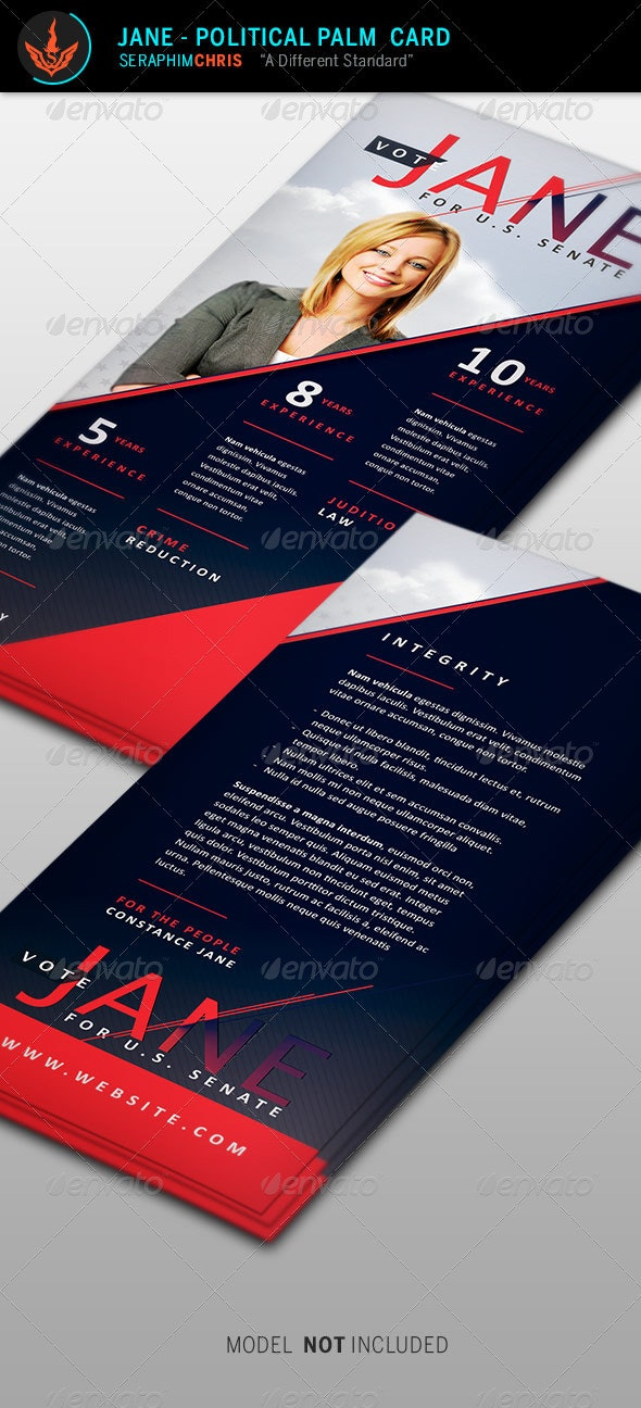 Jane - Political Palm Card Template - Corporate Flyers