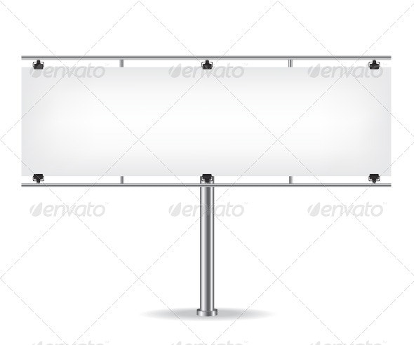 Blank Metal Billboard on White Background - Objects Vectors