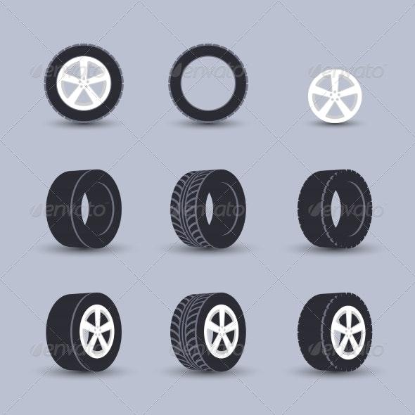 Tire Icon Set - Web Elements Vectors
