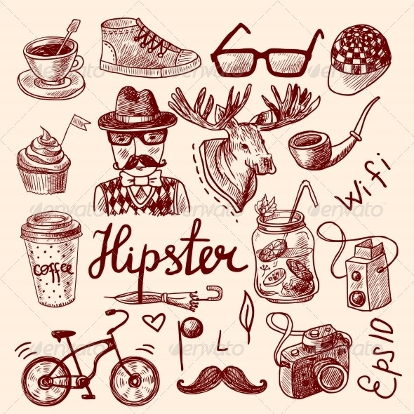 Set of Hipster Icons - Decorative Symbols Decorative