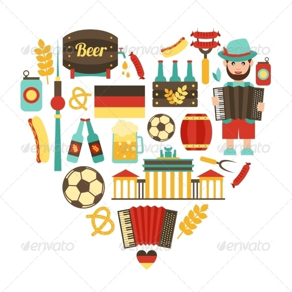 Germany Travel Heart Set - Travel Conceptual
