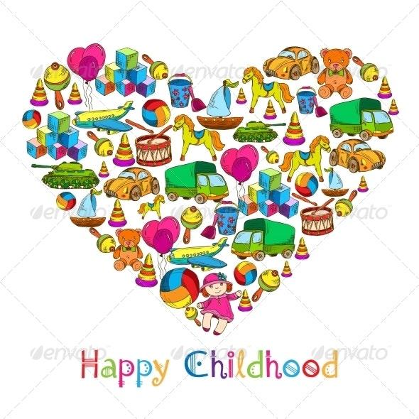 Toys Heart Happy Childhood - Miscellaneous Vectors