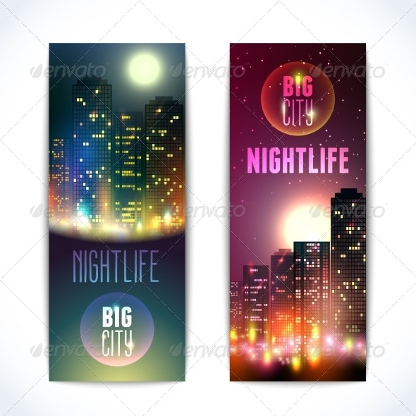 City at Night Vertical Banners - Buildings Objects