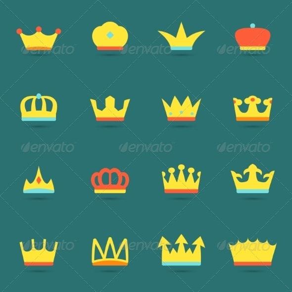 Crown Icon Set - Web Technology