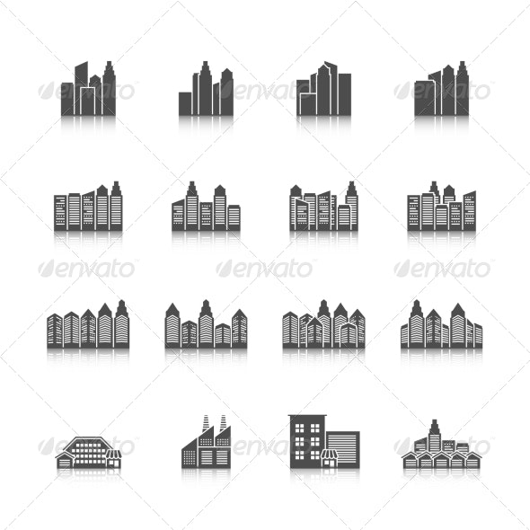 Cityscape Icons Set - Buildings Objects
