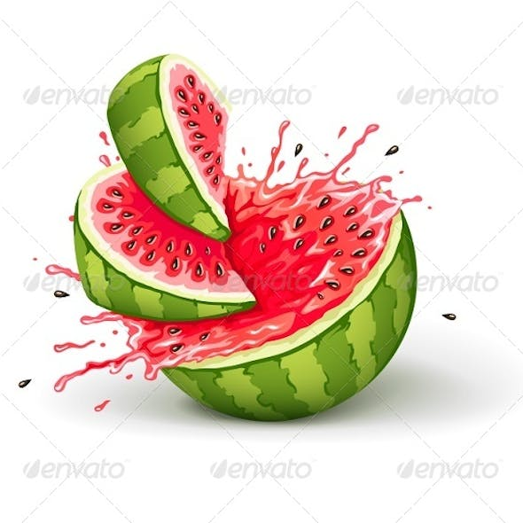 Juicy Ripe Watermelon Cuts with Splashes