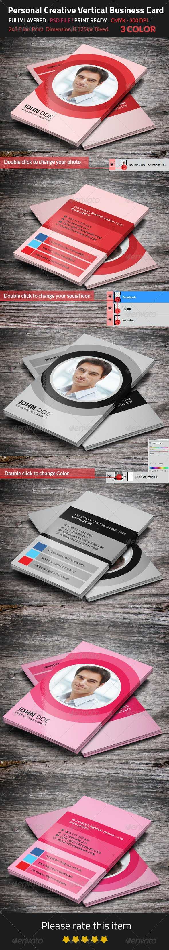 Personal Creative Vertical Business Card - Creative Business Cards