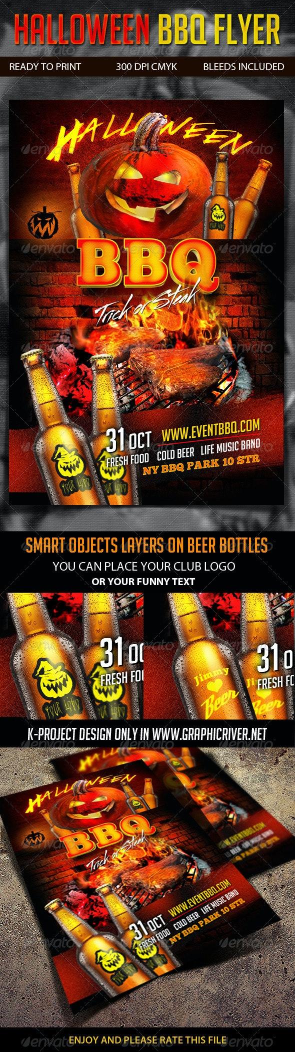 Halloween BBQ Flyer - Clubs & Parties Events