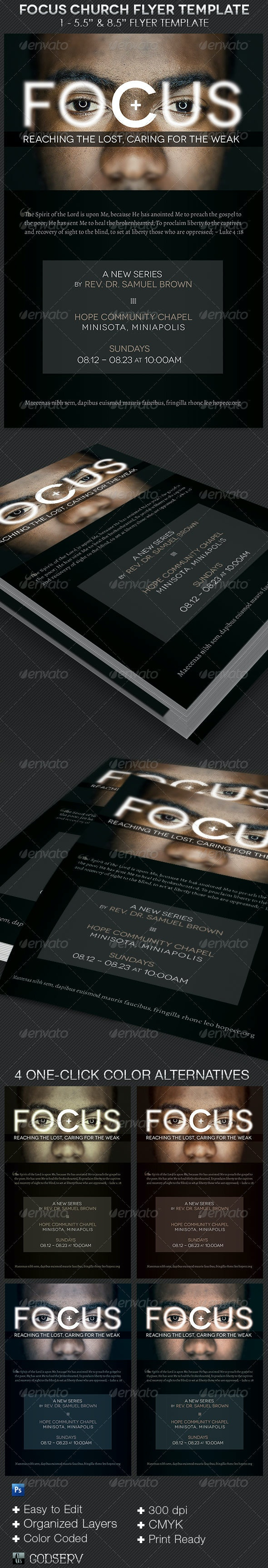 Focus Church Flyer Template  - Church Flyers