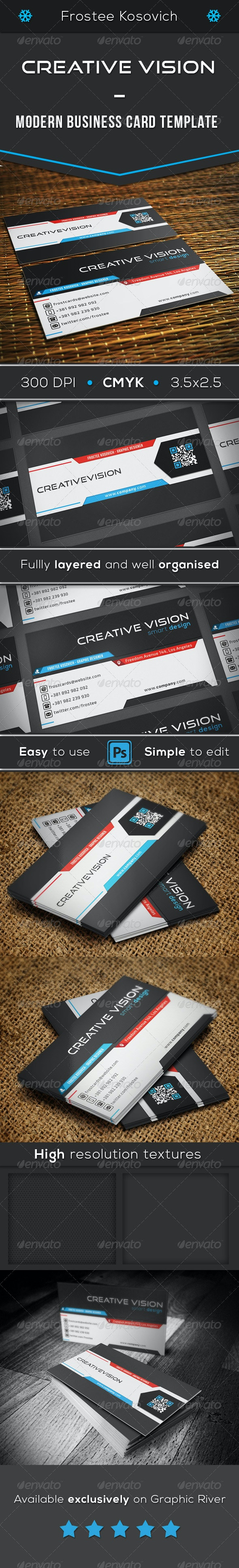 Creative Vision Modern Business Card Template - Creative Business Cards