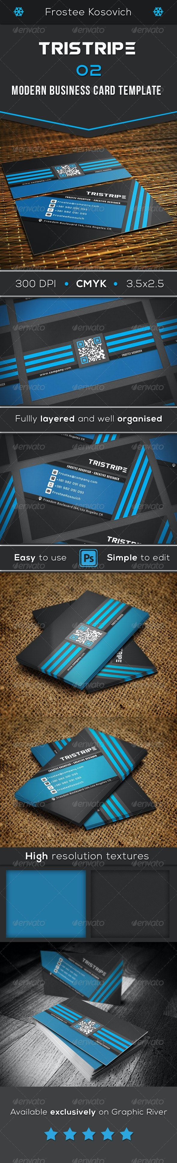 Tristripe Modern Business Card Template 02 - Creative Business Cards