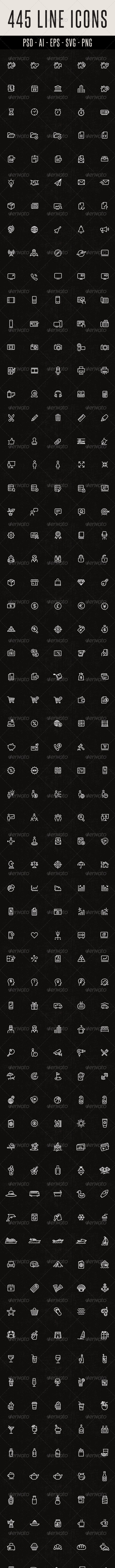 445 Line Icons - Miscellaneous Icons