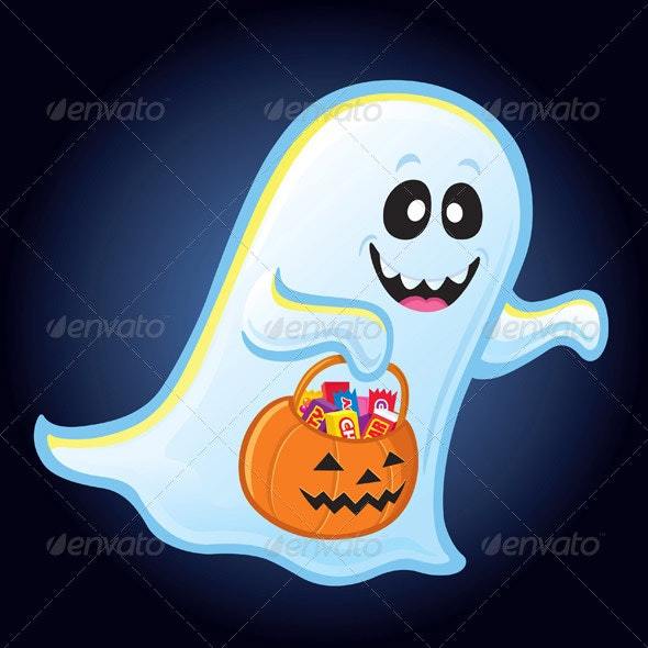 Ghost Trick or Treating for Candy - Halloween Seasons/Holidays