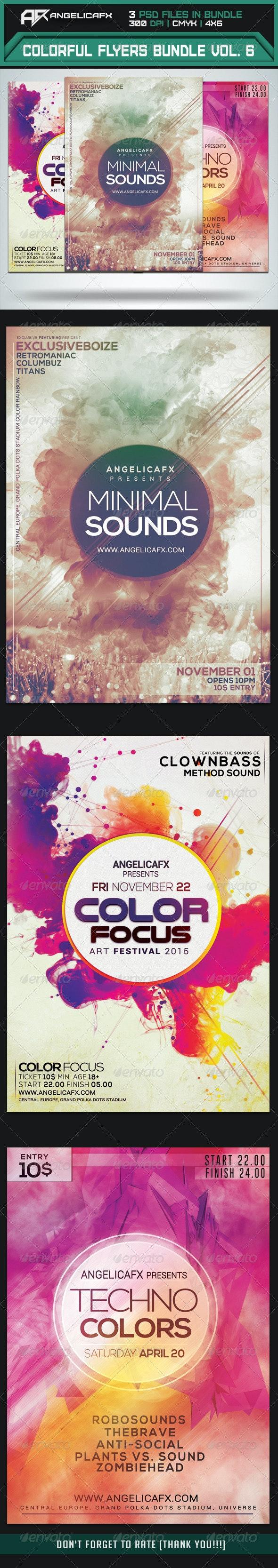 Colorful Flyers Bundle Vol. 6 - Clubs & Parties Events