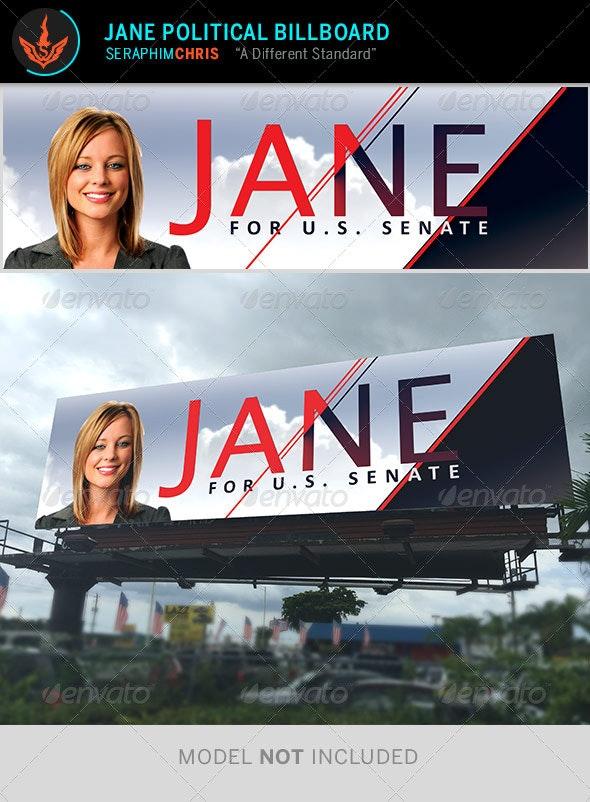 Jane - Political Billboard Template - Signage Print Templates