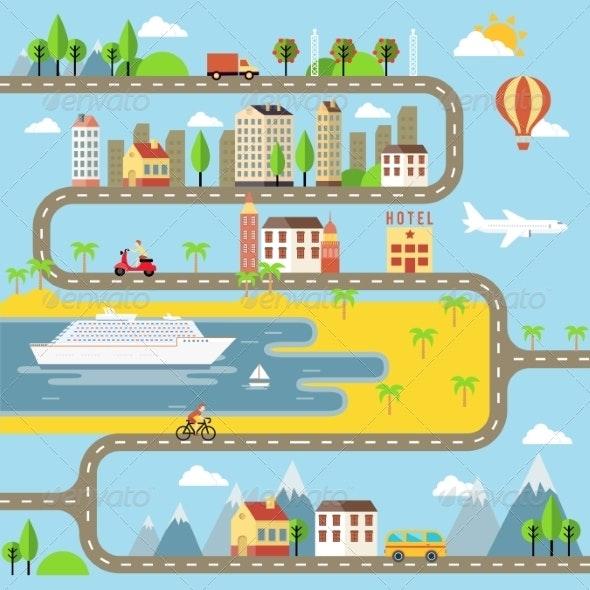 Vector Small Town Cityscape Illustration - Miscellaneous Vectors