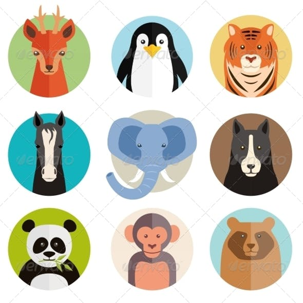 Animal Icons in Round Buttons