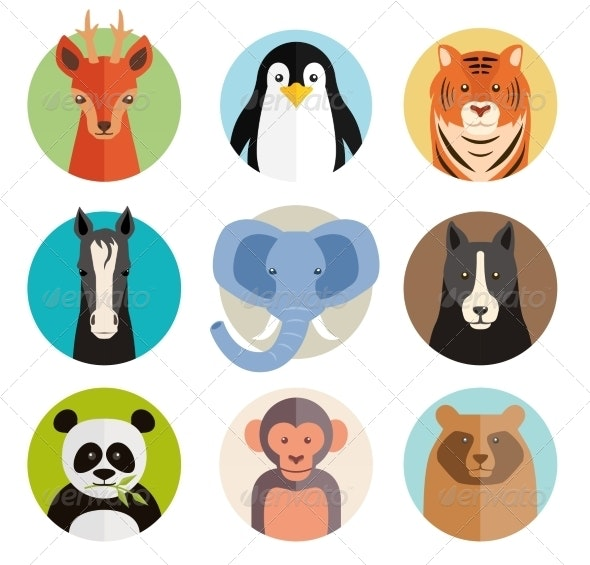 Animal Icons in Round Buttons - Animals Characters