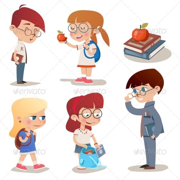 Vintage Style Characters School Children Set