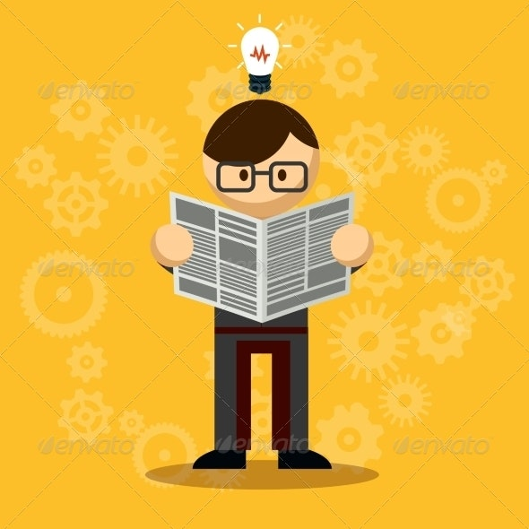 Vector Businessman Reading Newspaper - Concepts Business