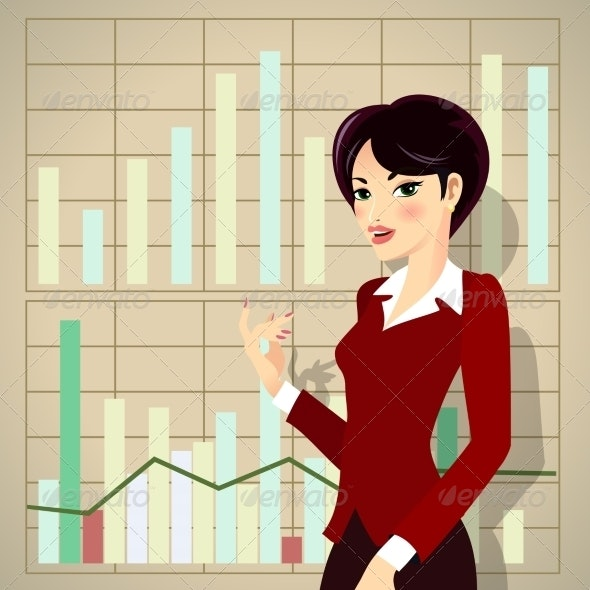 Business Woman Cartoon Presenting Proposal - People Characters