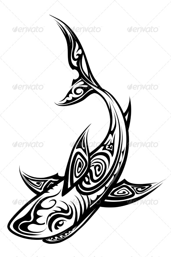 Vector Shark Polynesian Tattoo - Tattoos Vectors
