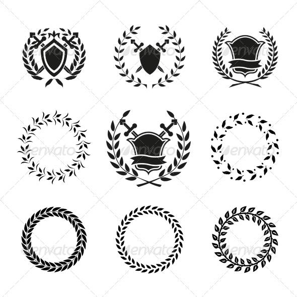 Shields and Wreaths Labels - Decorative Symbols Decorative