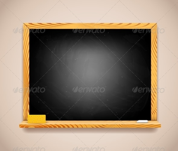 Vector Black Chalkboard on Light Brown Wall - Backgrounds Decorative