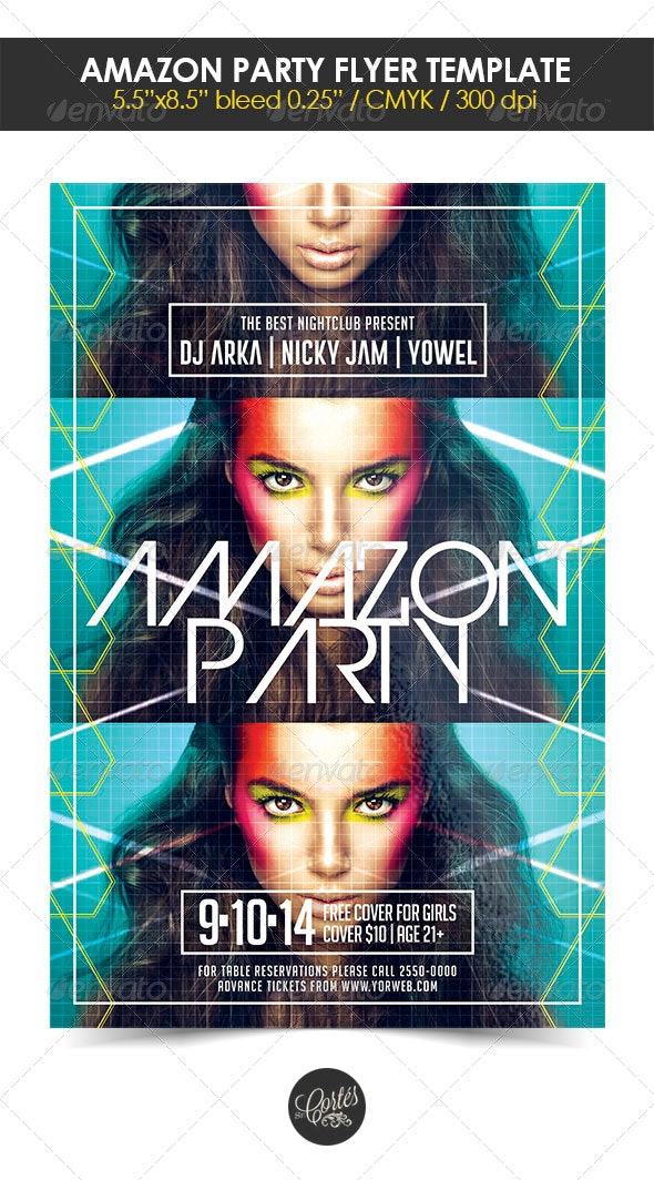Amazon Party Flyer Template - Clubs & Parties Events