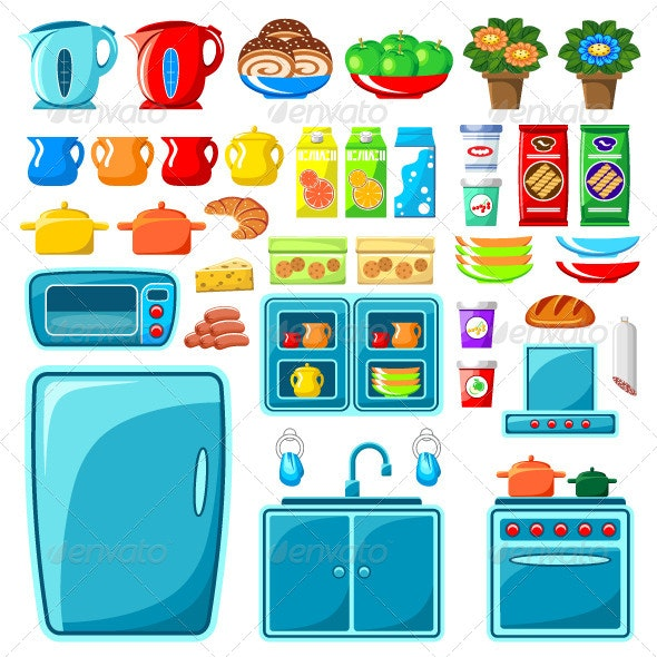 Set of Kitchen Furniture. - Objects Vectors