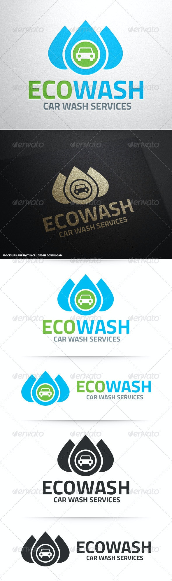 Eco Car Wash Logo Template - Objects Logo Templates