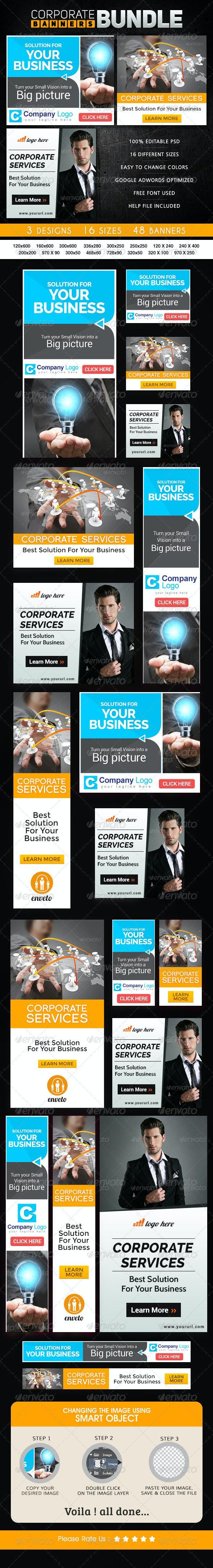 Corporate Banner Bundle - 3 sets - Banners & Ads Web Elements
