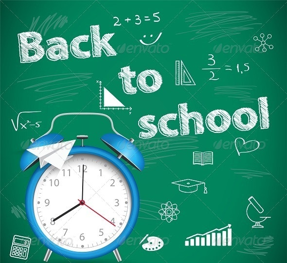 Green School Background with Alarm - Backgrounds Decorative