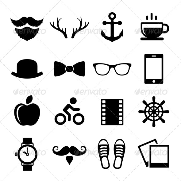 Set of Vintage Hipster Icons and Logos Vector - Miscellaneous Icons
