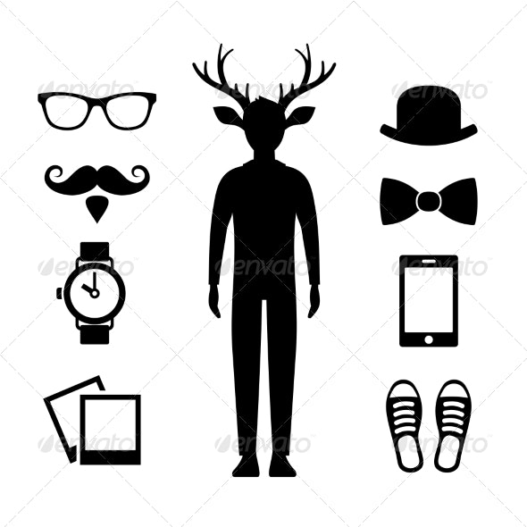 Hipster Icons Set with Deer Man Silhouette Vector - People Characters