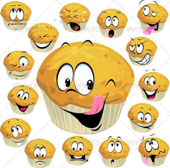 Muffin Cartoon with Many Expressions - Food Objects