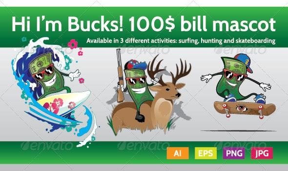 Bucks the Hundred Bill Mascot Character - Characters Vectors
